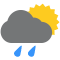 Durante la prima parte della giornata Poco nuvoloso con qualche pioggia tendente nella seconda parte della giornata Coperto