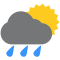 Durante la prima parte della giornata Poco nuvoloso con piogge moderate tendente nella seconda parte della giornata Nubi sparse con piogge moderate